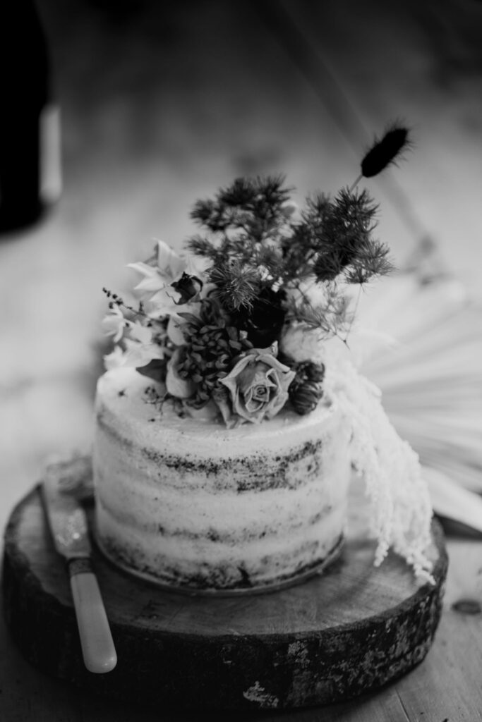 Wedding cake topped with floral design