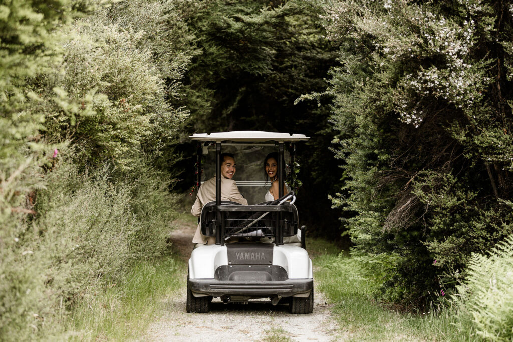Golf cart wedding car at Paradise Trust