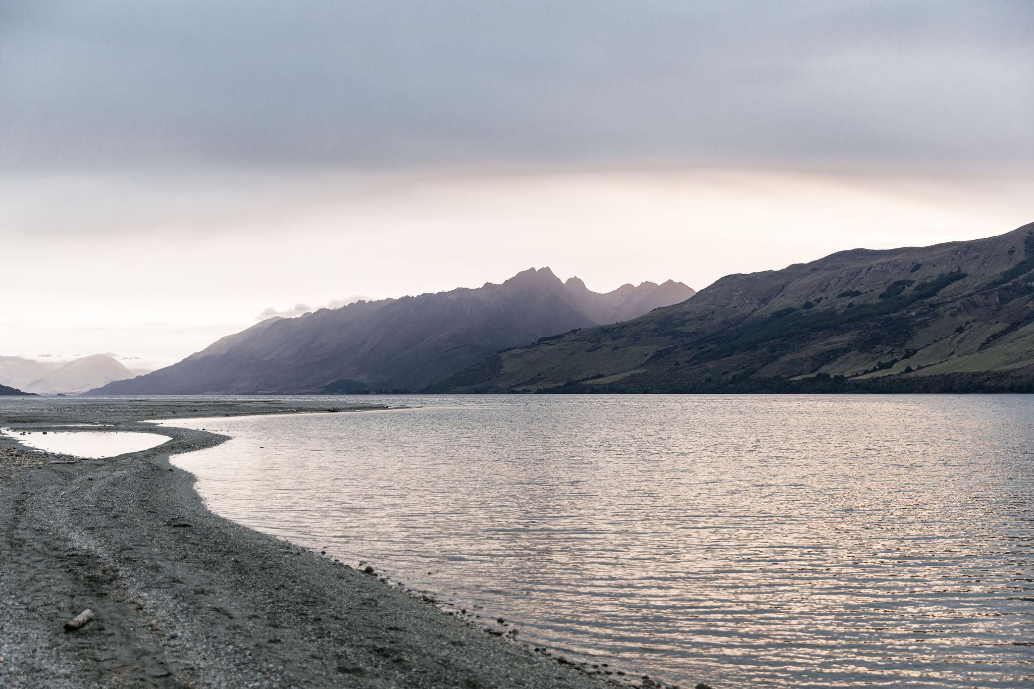 Glenorchy Lake Shore sunset at the end of 2020